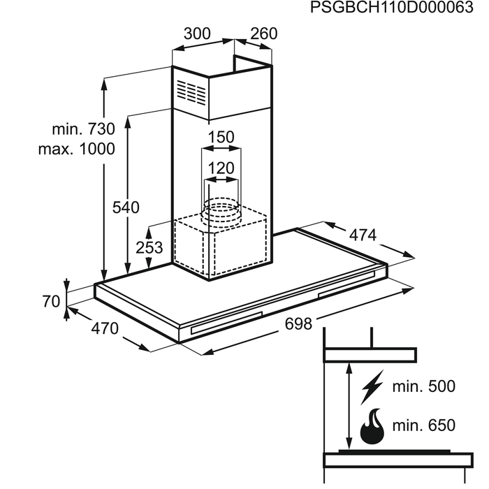 Electrolux - Chimney hood - EFB70566BX