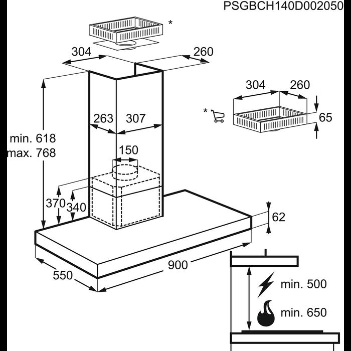 Electrolux - Chimney hood - EFBP90680X