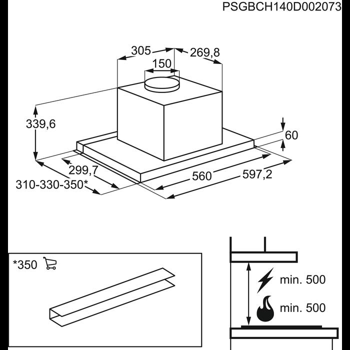 Electrolux - Utdragbar köksfläkt - EFP60566OX
