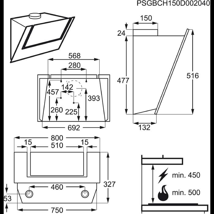 AEG - Kürtős páraelszívó - X68165BV10