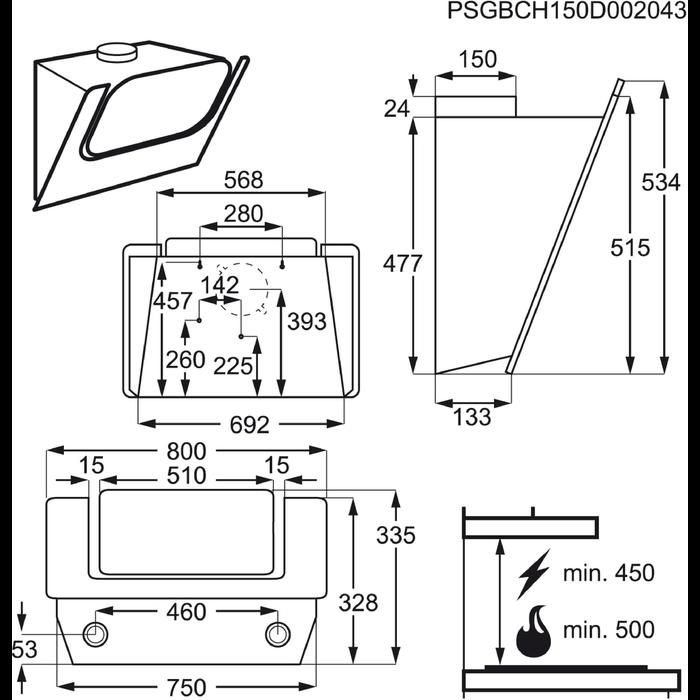 Electrolux - Hotă tip şemineu - EFV80464OW