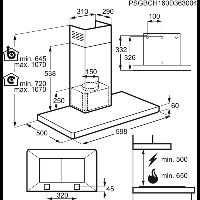 Electrolux - Hotă tip şemineu - EFB60460OX