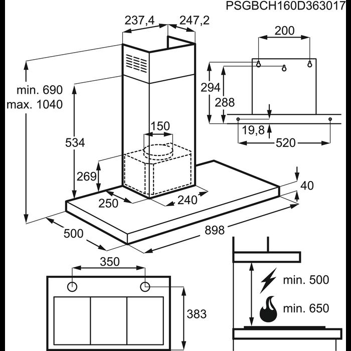 Electrolux - Vägghängd köksfläkt - EFB90981OX