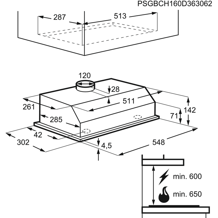 AEG - Rejtett páraelszívó - DL6250-ML