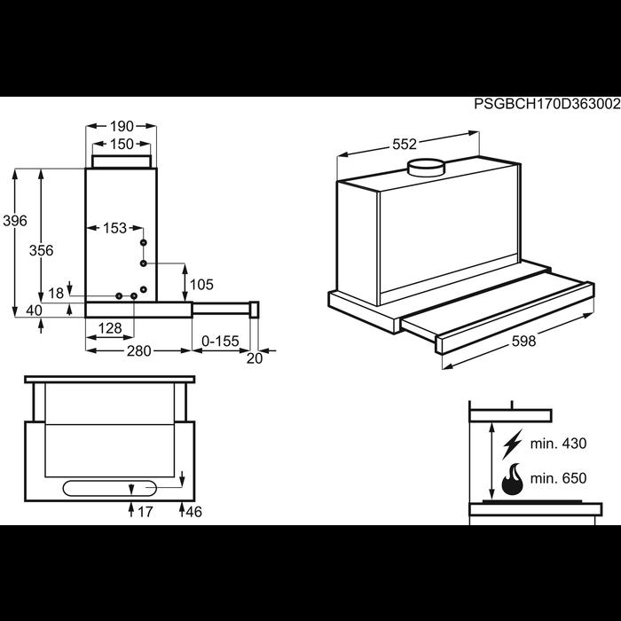 Electrolux - Udtræksemhætte - EFP60436OX