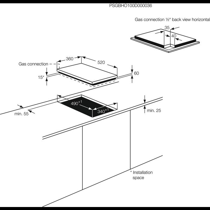 AEG - Table gaz - HC412000GB