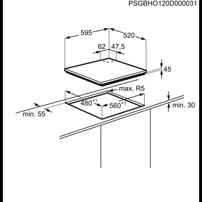 Electrolux - Plită pe gaz - EGT6343LOK