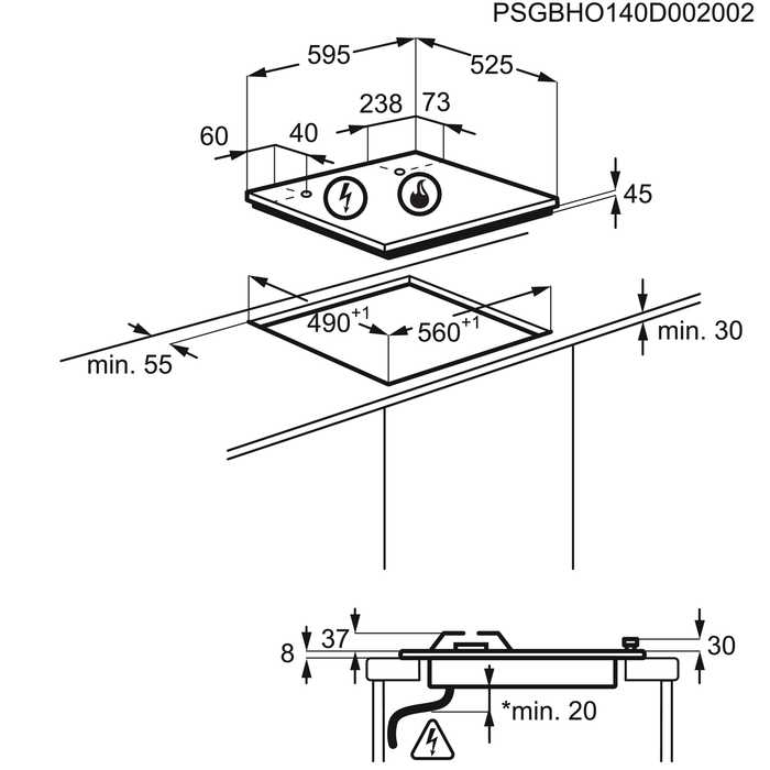 Electrolux - Газовая варочная панель - EGU96647LX