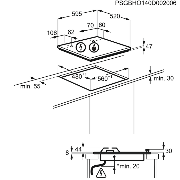 Zanussi - Gas hob - ZGX65414BA