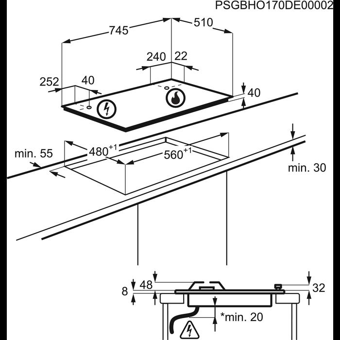 Electrolux - Piano cottura gas - Built-in - EGH7459GOX
