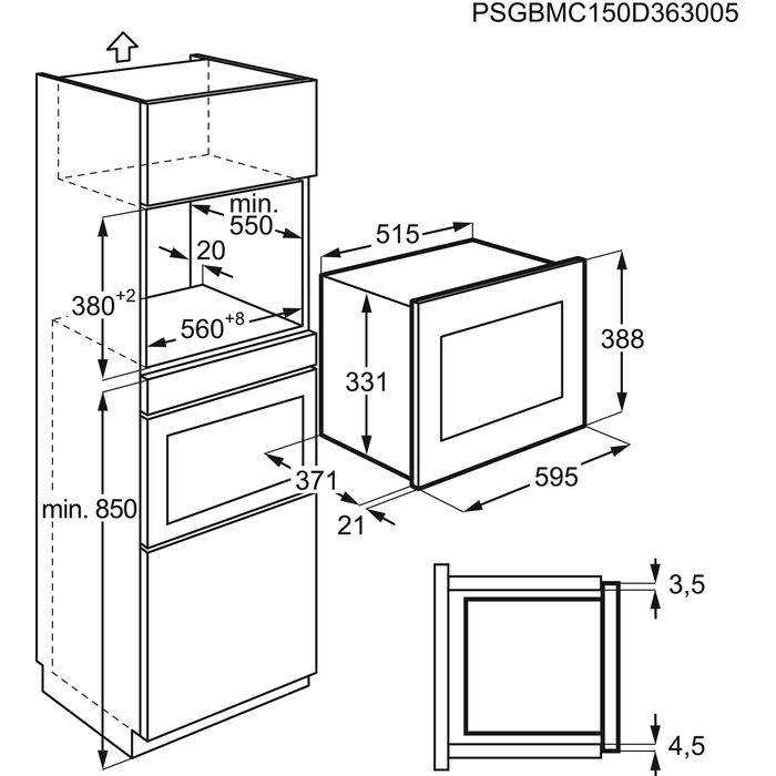 AEG - Beépíthető mikrohullámú sütő - MSD2543S-M