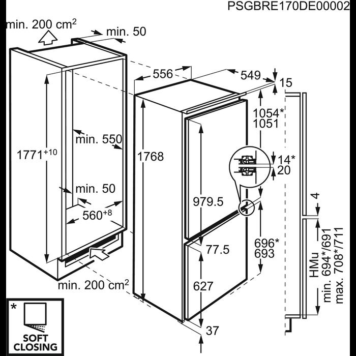 AEG - Встраиваемый холодильник с морозильной камерой. - SCN71800C0