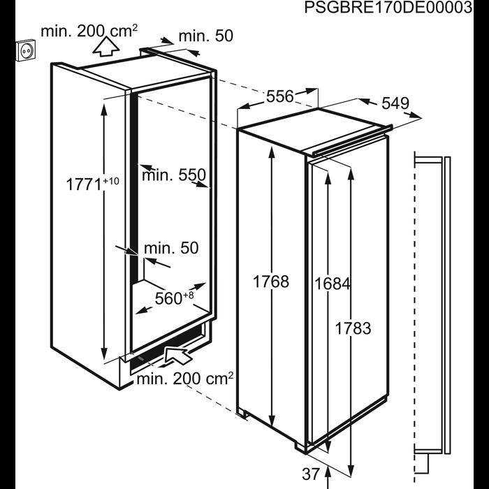 Electrolux - Inbyggt kylskåp - Inbyggnad - ERC3215AOW