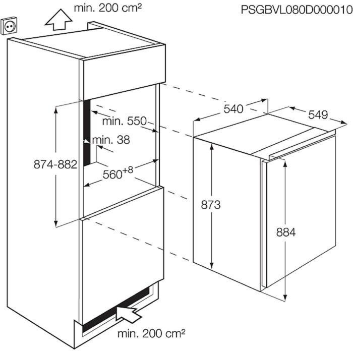 AEG - Inbyggt kylskåp - Inbyggnad - SKB68821AF