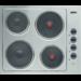 Placa eléctrica, 4 discos eléctricos, comandos laterais, mesa de trabalho em inox, indicador luminoso de resistência ligada, 58 cm