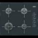 Placa a gas independiente de 60cm, 4 quemadores (una triple corona), mandos laterales, termopar, autoencendido electrónico, parrillas de hierro fundido, Negra