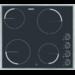 Placa de aquecimento por incandescência rápida, 4 focos hilight, moldura inox, controlo por botões, Instalação Drop&Go, 57,6 cm