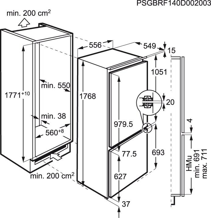 Electrolux - Frigorífico Combi de integración - ENG2854AOW