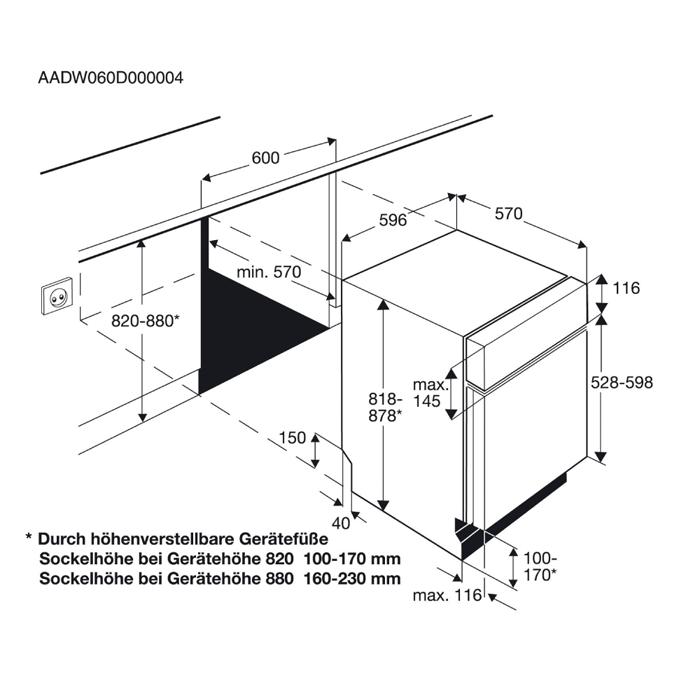 Zanussi - Einbau Geschirrspüler, 60cm - ZDI26010XA