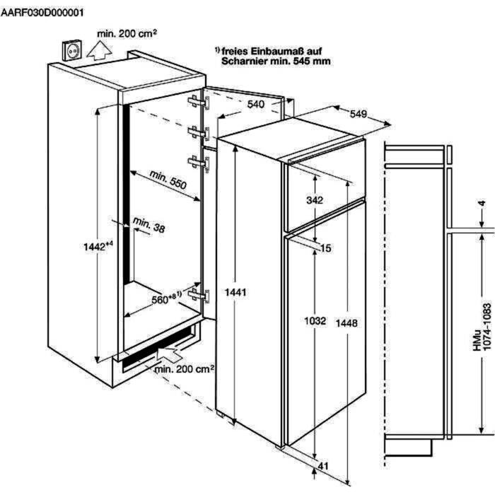 Electrolux - Beépíthető hűtő-fagyasztó - beépíthető - EJN2301AOW