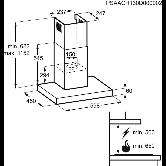 Electrolux - Купольная вытяжка - EFC60462OX