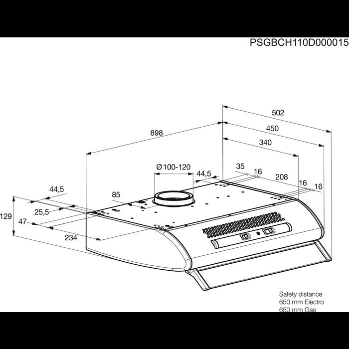Zanussi - Onderbouwdampkap - ZHT920X