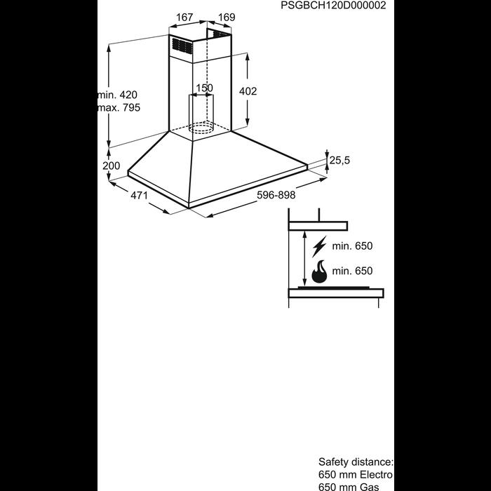 Electrolux - Hotă tip şemineu - EFC60151X