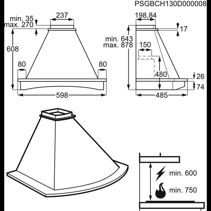 Electrolux - Купольна витяжка - EFF96024OW