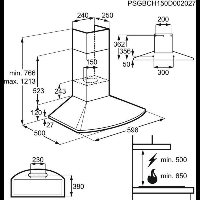 Electrolux - Hotte décorative - EFC60465OX