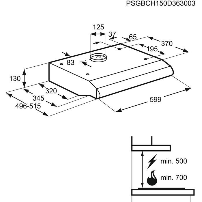 Electrolux - Traditionel emhætte - EFT60237OW