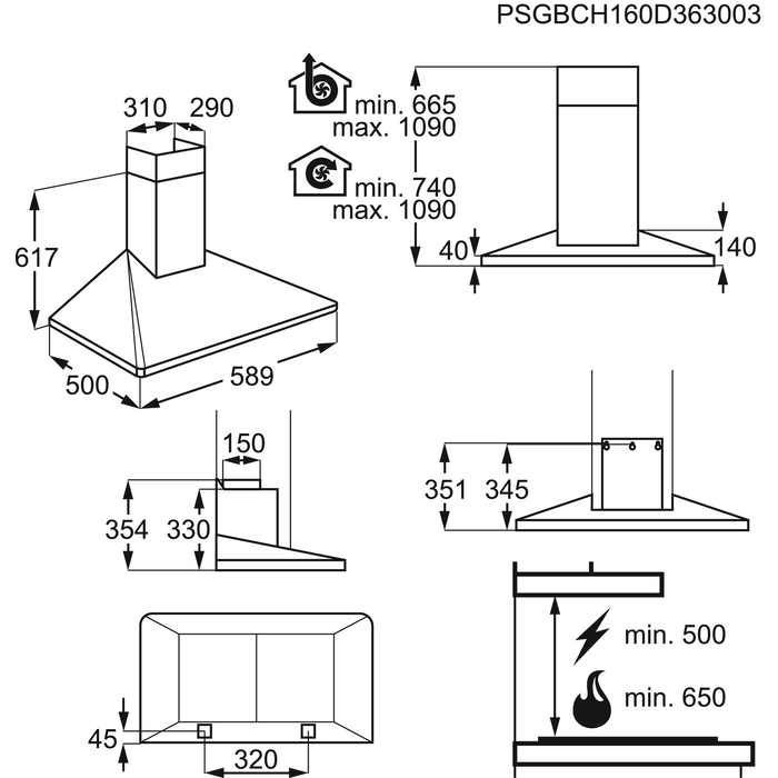 Electrolux - Komínový odsávač - EFF60560OX