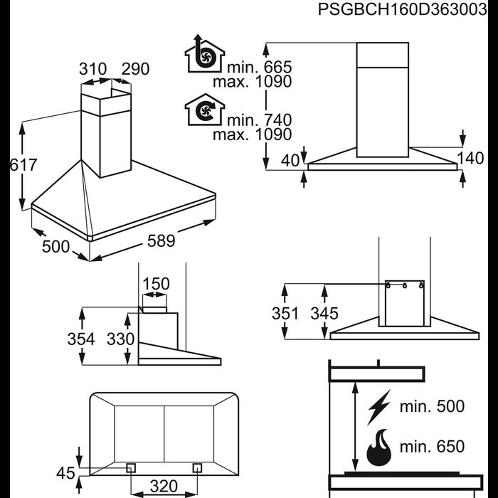 Electrolux - Vägghängd köksfläkt - EFF60560OK