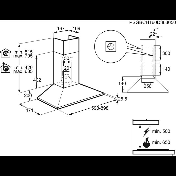 Electrolux - Chimney hood - EFC60151K