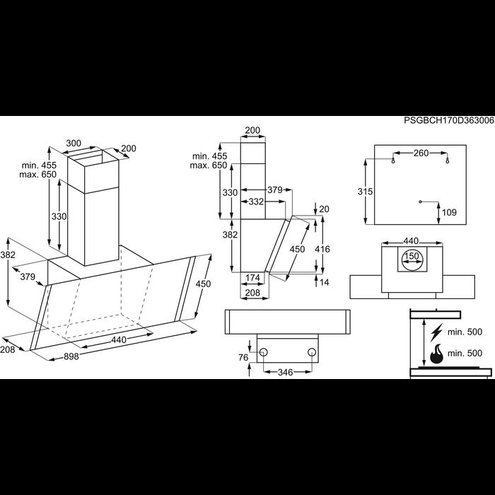Electrolux - Kürtős páraelszívó - EFV90657OK