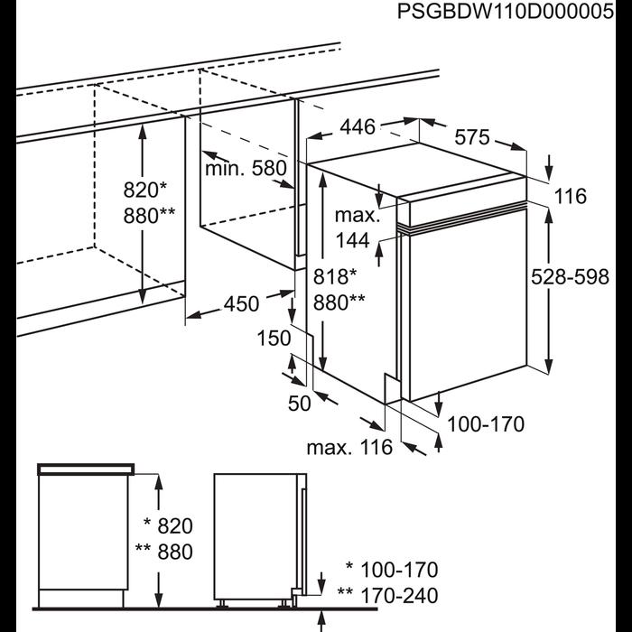 Electrolux - Montuojama siaura indaplovė - ESI4500LOX