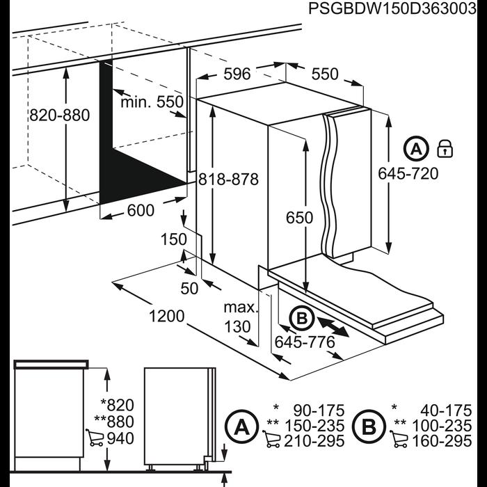 AEG - Einbau Geschirrspüler, 60cm - F55350VI1
