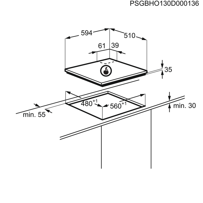 Zanussi - Газовая варочная панель - ZGX565414X