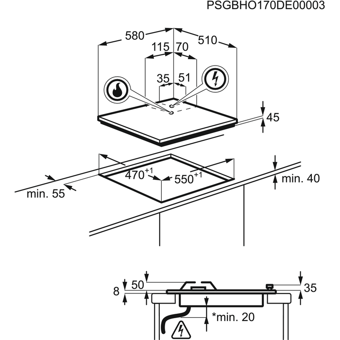 Electrolux - Table mixte - EGL6082NEK