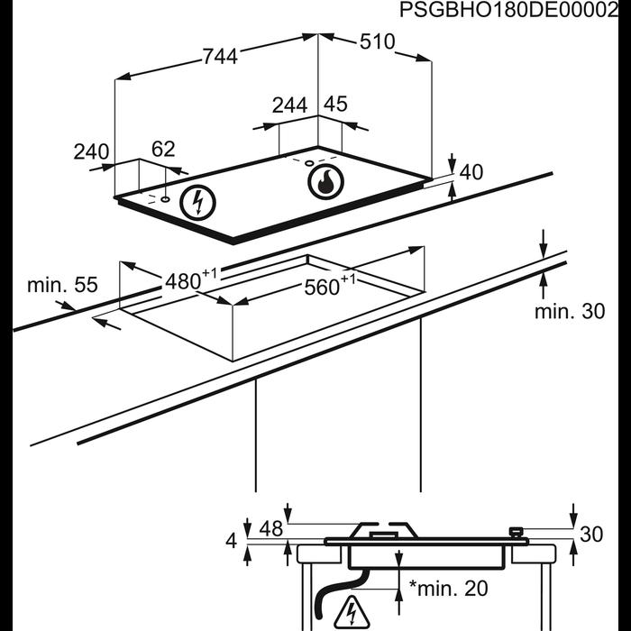 Electrolux - Placa a gás - EGH7353BOX