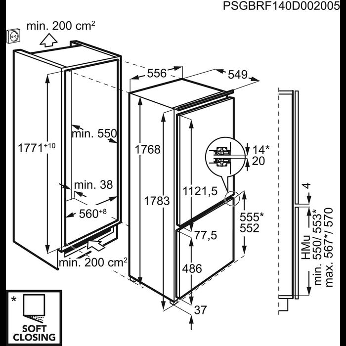 AEG - Montuojamas šaldytuvas su šaldikliu - Montuojama - SCE81816ZF
