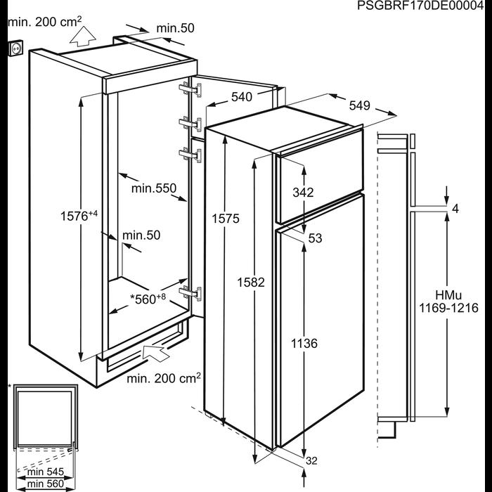 Electrolux - Réfrigérateur 2 portes encastrable - EJN2710AOW