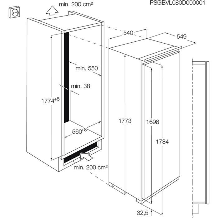 Electrolux - réfrigérateur encastrable - ERGP3314AW