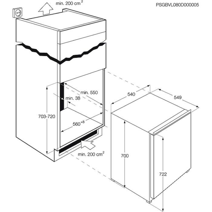 AEG - Congelador vertical de integración - AGS77200F0