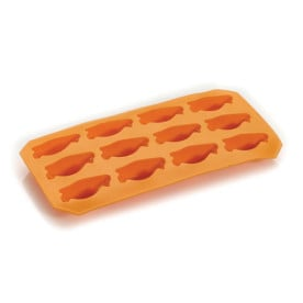 Orange iskubsbricka i silikon i form av en pingvin